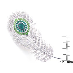 Silvertone Austrian Crystal Peacock Feather Pin - Thumbnail 2
