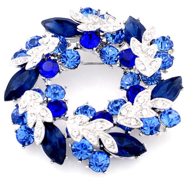 Silvertone Blue Austrian Crystal Base-metal Wreath Pin