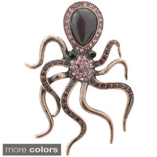 Rose Goldtone Purple Austrian Crystal Vintage-style Octopus Pin