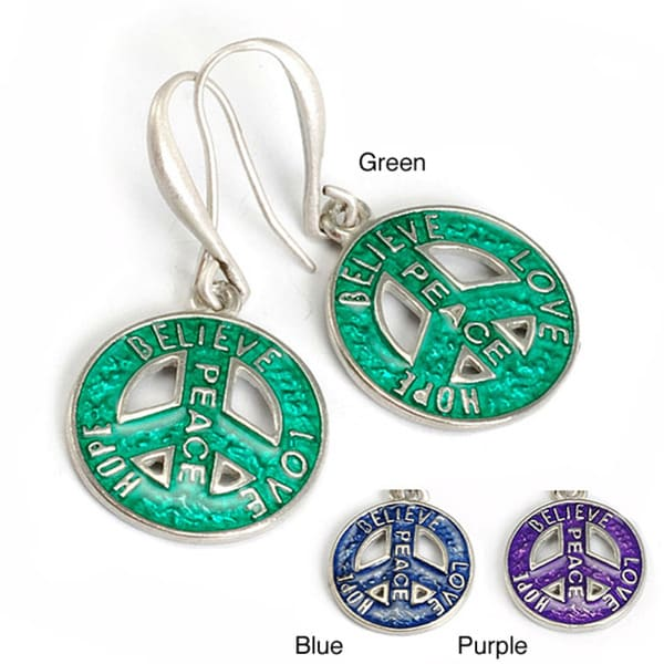 Sweet Romance Pewter Retro 1960's Peace Sign Earrings