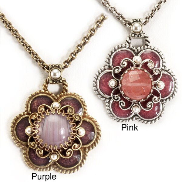 Sweet Romance Pewter Pink/ Purple Glass Daisy Necklace