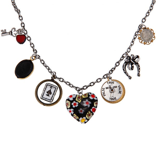 Sweet Romance Pewter Lady Luck Charm Necklace