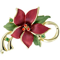 Red Christmas Star Poinsettia Flower Crystal Pin Brooch and Pendant - Thumbnail 0