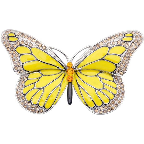 Silvertone Austrian Crystal and Enamel Butterfly Pin