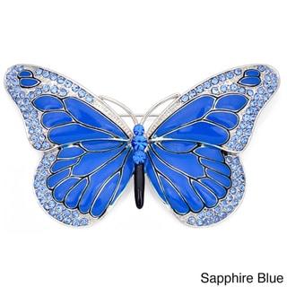 Silvertone Austrian Crystal and Enamel Butterfly Pin