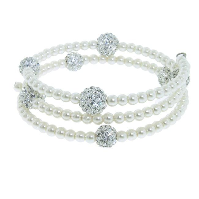 Eternally Haute White Glass Pearl and White Czech Crystal Wrap Bracelet