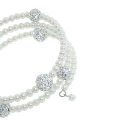 Eternally Haute White Glass Pearl and White Czech Crystal Wrap Bracelet - Thumbnail 1