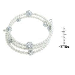 Eternally Haute White Glass Pearl and White Czech Crystal Wrap Bracelet - Thumbnail 2