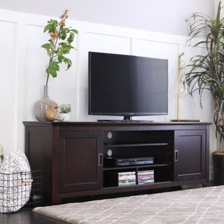 70 Inch Espresso Wood TV Stand With Sliding Doors