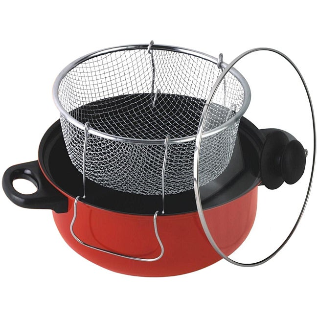 Gourmet Chef 4.5 Quart Non Stick Deep Fryer with Frying Basket and Glass Cover - Thumbnail 0