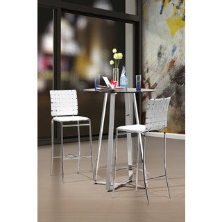 Zuo Criss Cross Modern Leather and Chrome White Bar Chairs (Set of 2)