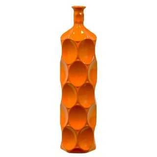 Ceramic LG Dimpled Gloss Finish Orange Round Bottle Vase