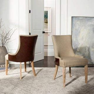 Safavieh En Vogue Dining Becca Beige Fabric Leather-back Side Chair