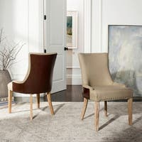 Safavieh En Vogue Dining Becca Beige Fabric Leather-back Dining Chair