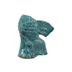 Blue Ceramic Fish Sculpture