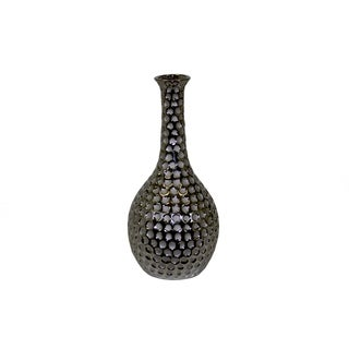 UTC11110: Ceramic Round Vase with Neck and Round Belly LG Dimpled Polished Chrome Finish Silver