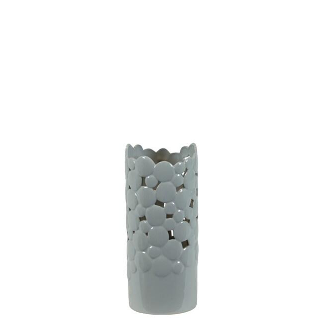 Small Grey Cut Design 11-inch Ceramic Vase