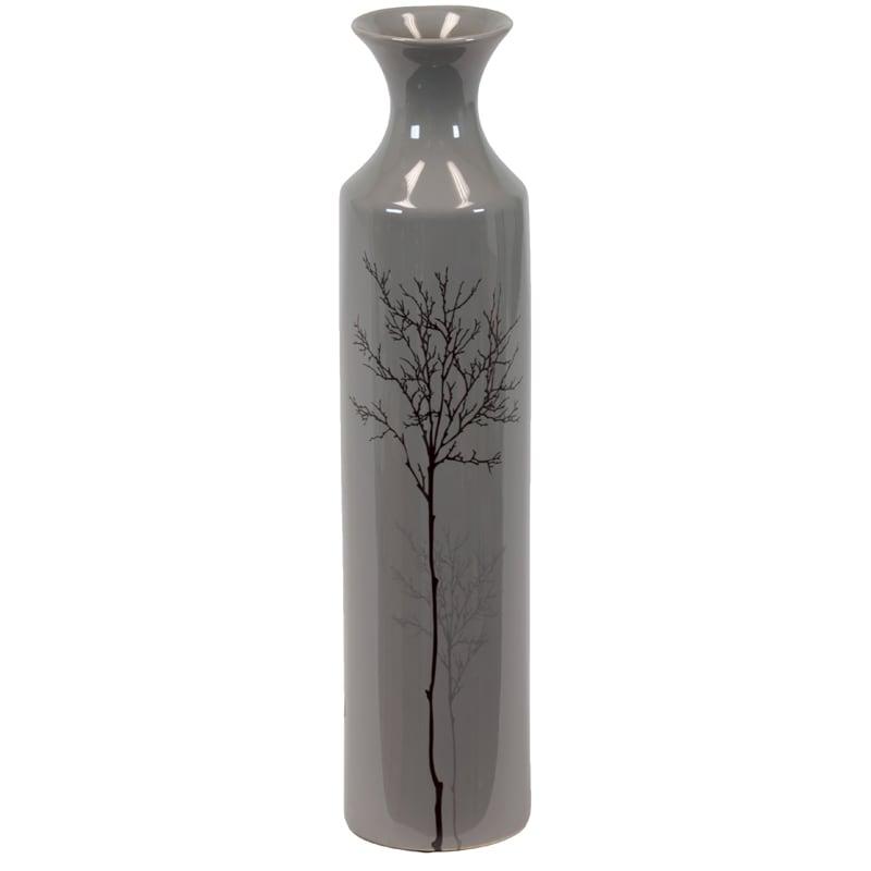 Grey Small Shiny 16-inch Ceramic Vase