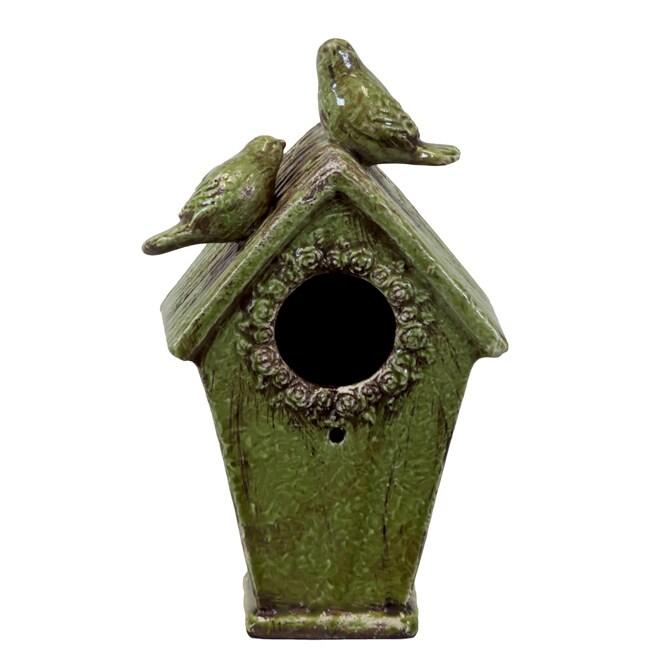 Shop Urban Trend Green Bird Feeder House Ceramic Accent