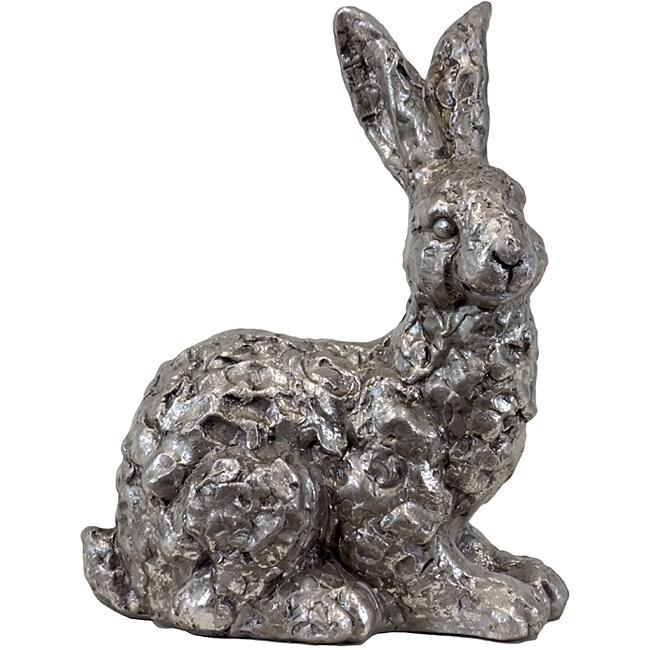 Urban Trend Silver Rabbit Ceramic Garden Accent