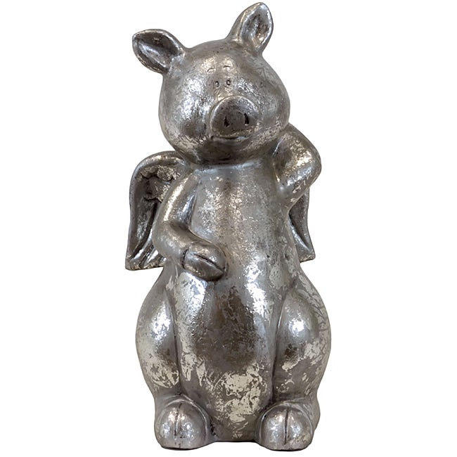 Urban Trend Silver Pig Ceramic Garden Accent - Thumbnail 0