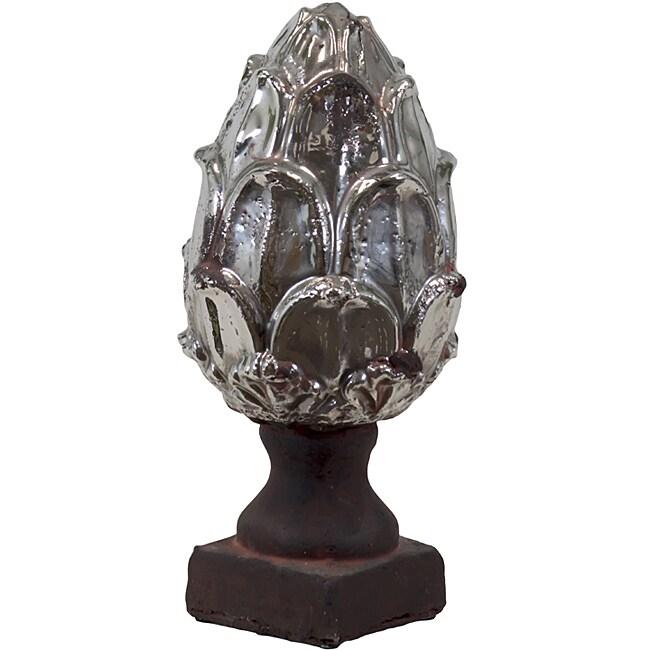Ceramic Artichoke Antique Silver Small