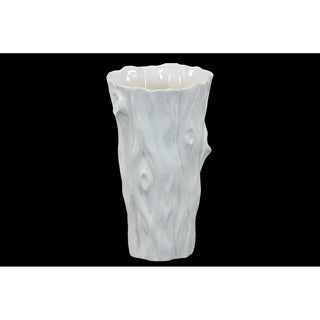 UTC70345: Ceramic Tapered Round Vase with Tree Trunk Design Gloss Finish White