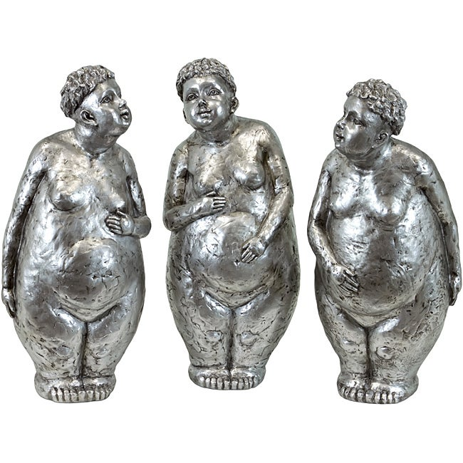 Resin Fat Lady Statues (Set of 3)