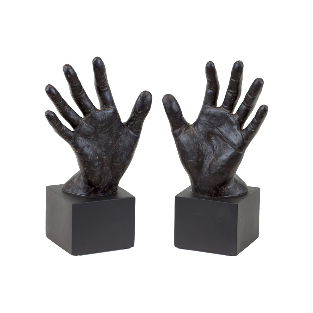 Resin Hand Bookend Set of Two