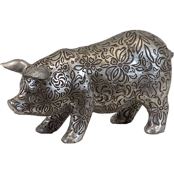 Small Silver Antique Resin Pig