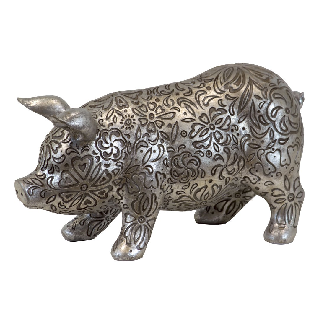 Large Silver Antique Resin Pig
