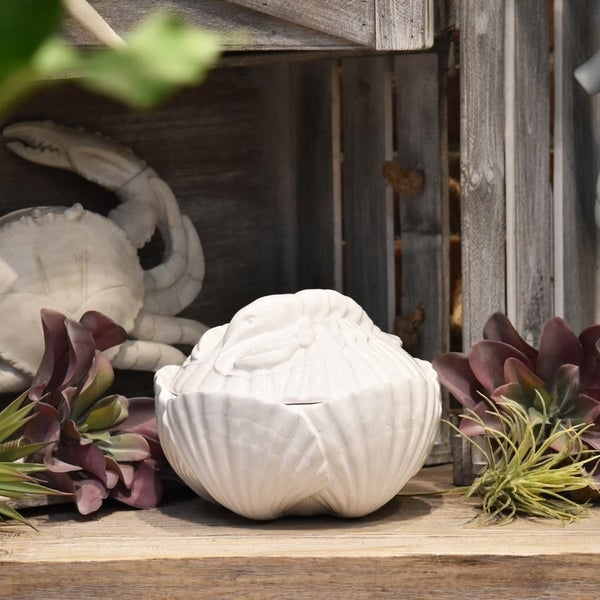 UTC70557: Ceramic 42 oz. Clam Seashell Canister with Lobster Lid Gloss Finish White