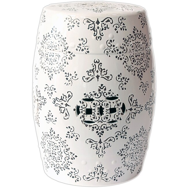 Shop Ceramic Garden Stool White And Brown Free Shipping