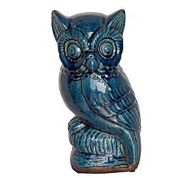 Turquoise Ceramic Owl Figurine