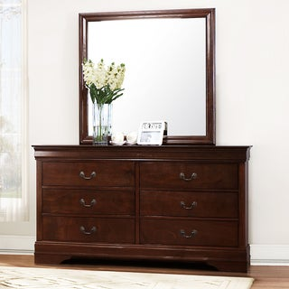 TRIBECCA HOME Milford Louis Phillip Brown Traditional 6-drawer Dresser and Mirror
