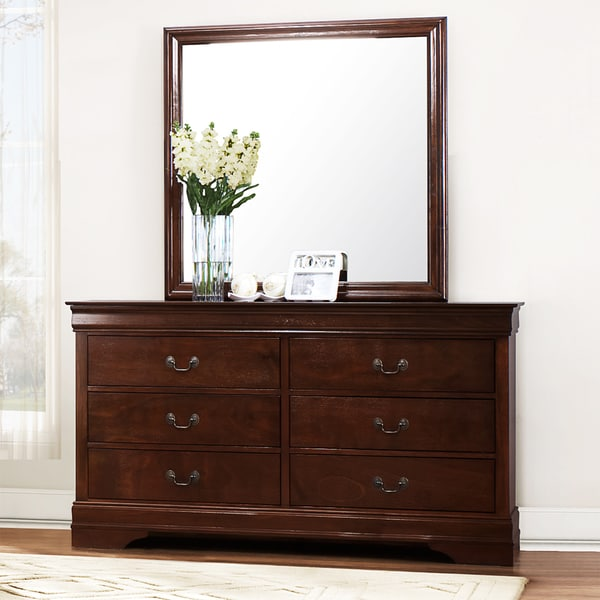 Tribecca home milford louis phillip brown traditional 6 drawer dresser