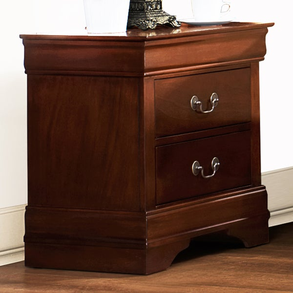 Milford Louis Phillip Warm Brown Traditional 2-drawer Nightstand by TRIBECCA HOME