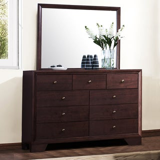 Abbyson Living Kingston Espresso 9 Drawer Dresser And