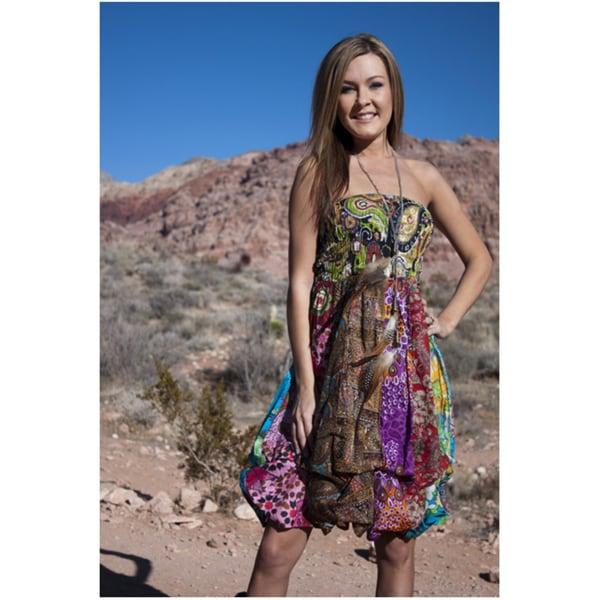 Women's Cotton Elastic Tube Top Sleeveless Bubble-hem Dress (Nepal)