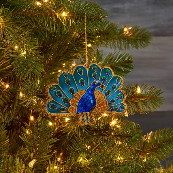 Handmade Embroidered and Sequined Peacock Ornament Made in India