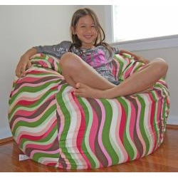 Ahh Products 36-Inch Wide Wavelength Guava Cotton Washable Bean Bag Chair - Thumbnail 1