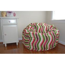 Ahh Products 36-Inch Wide Wavelength Guava Cotton Washable Bean Bag Chair - Thumbnail 2