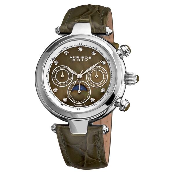 Akribos XXIV Women's Classique Diamond Stainless Steel Automatic Fashion Strap Watch