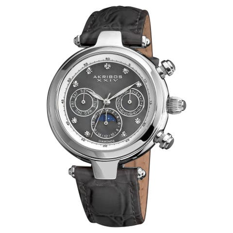 Akribos XXIV Women's Classique Diamond Automatic Fashion Grey Strap Watch