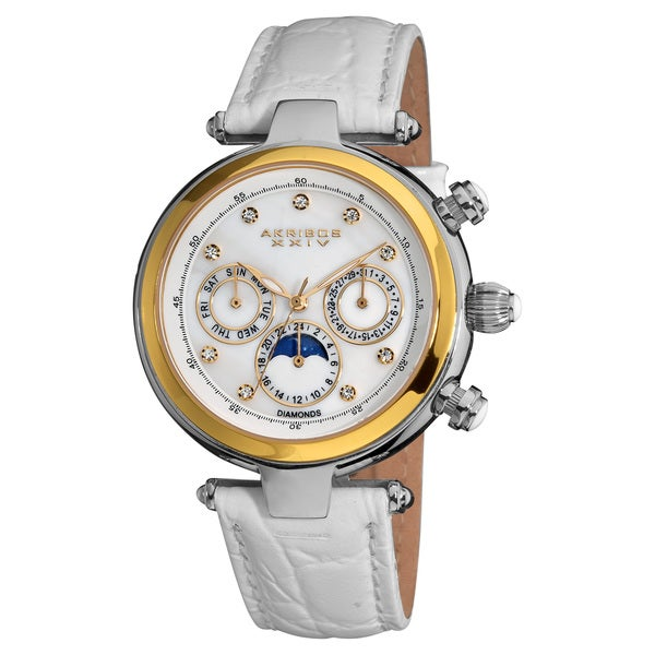 Akribos XXIV Women's Classique White Diamond Automatic Fashion Strap Watch