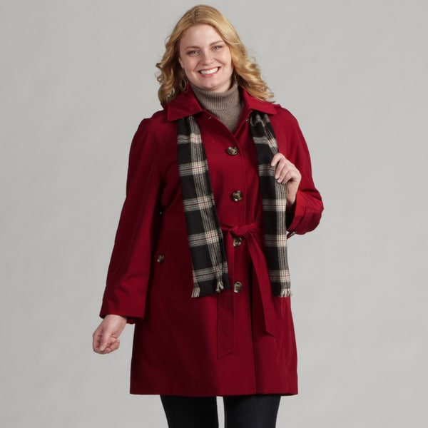 London Fog Women's Plus Belted Raincoat FINAL SALE