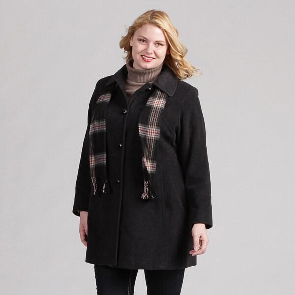 London Fog Women's Plus Long Wool Coat