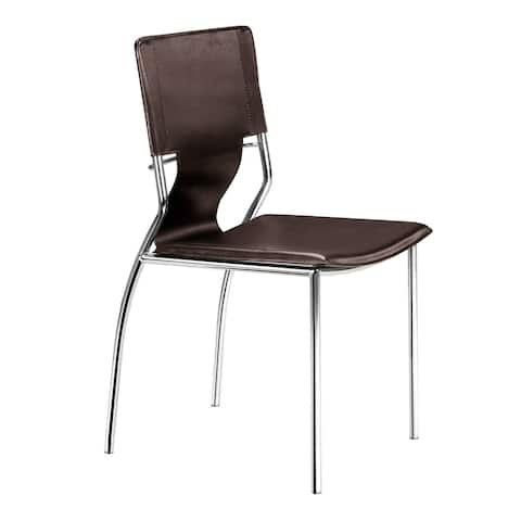 Trafico Modern Leather and Steel Espresso Dining Chairs (Set of 4) - 20L x 17W x 33H