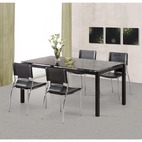 Trafico Modern Leather and Chrome Steel Black Dining Chairs (Set of 4)