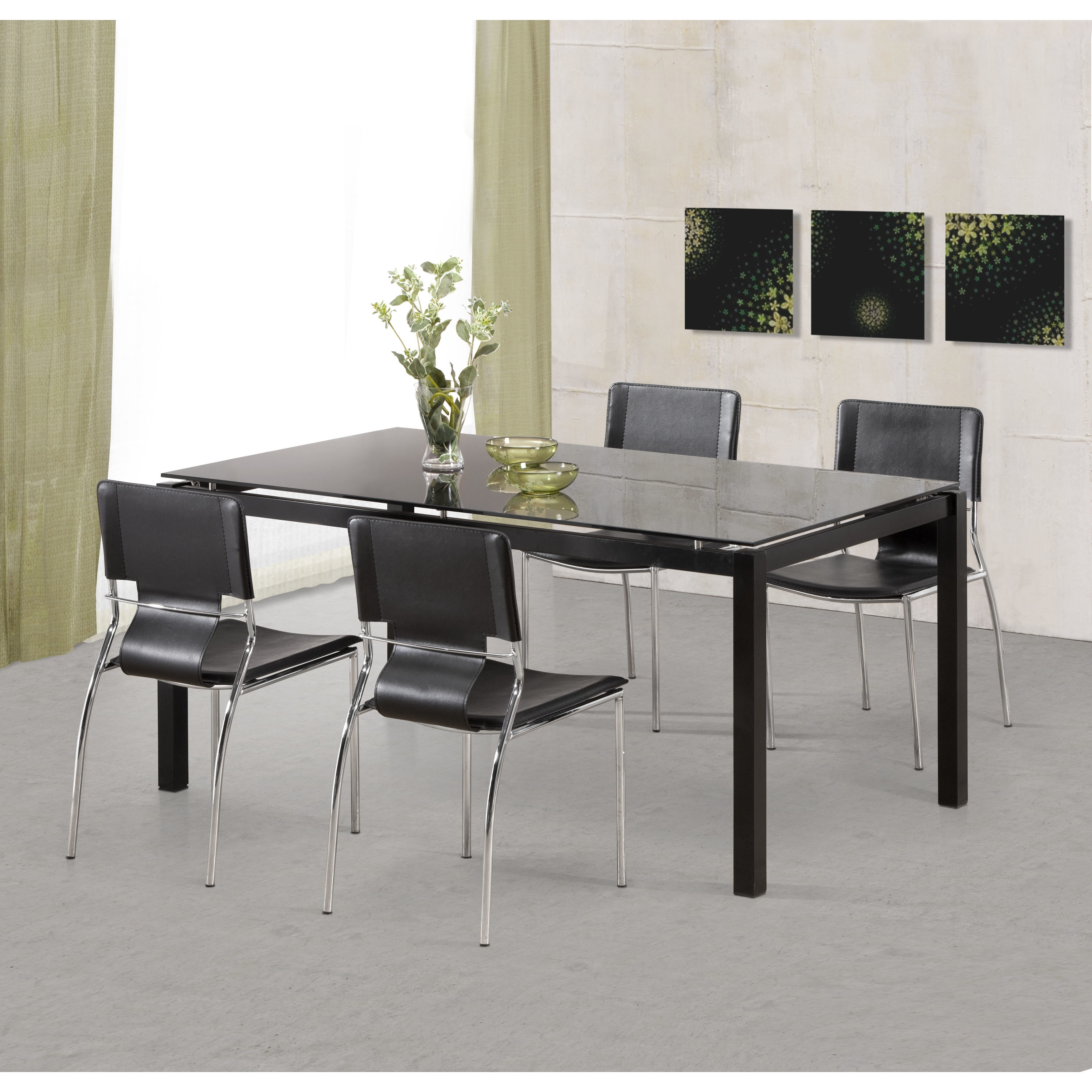 Trafico Modern Leather and Chrome Steel Black Dining Chairs (Set of 4) -  20L x 17W x 33H/N/A